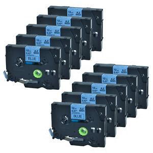 10 Pk Label Tape 0 47 Tz 531 Tze 531 Black On Blue For Brother P touch Printer