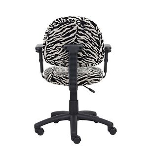 Boss Zebra Print Microfiber Deluxe Posture Chair W Adjustable Arms
