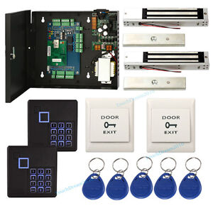 Two Door Security Access Control System Kit Keypad Reader 600lbs Magnetic Lock