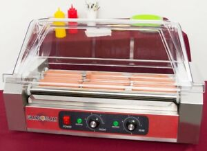 Hot Dog Roller Sausage Grill 12 Capacity With Cover Sneeze Guard Concession New