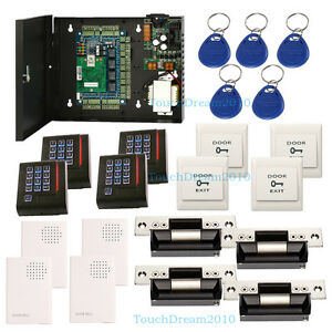 4 Door Access Control System Kit Set With 110 240v Power Box Ansi Strike Lock