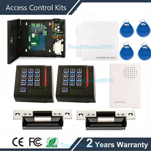 2 Door Proximity Card Access Control System With Ansi Strike Lock wired Doorbell