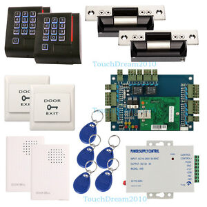 2 Door Security System Access Control Kit 110 240v Power Supply Strike Lock