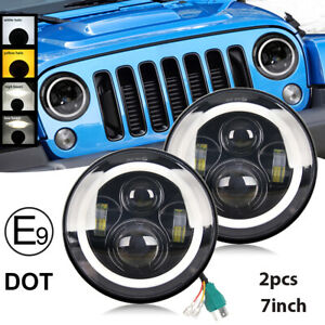 7 Led Headlights Black Projector For 97 18 Wrangler With Halo Angel Eyes