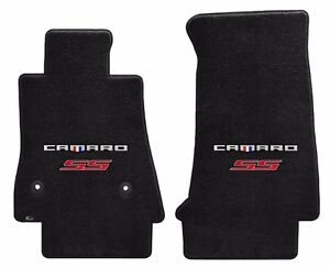 New Black Carpet Floor Mats 2016 2019 Camaro Embroidered Ss Double Logo Red Pr