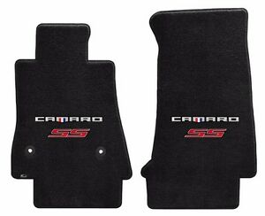 New Black Carpet Floor Mats 2016 2021 Camaro Embroidered Ss Double Logo Red Pr