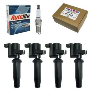 Set Of 4 Bosch Spark Plugs 4304 4 Ignition Coils For Ford Mazda Mercury