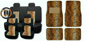 New Tan Leopard Mesh 15pc Full Set Car Interior Seat Covers And Floor Mats