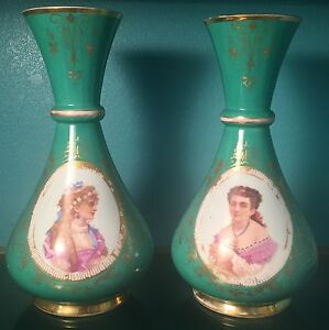 Beautiful Antique French Porcelain Portrait Vases