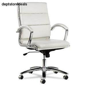 White Faux Leather Conference Room Table Chairs W Padded Arms Profile Seat Back