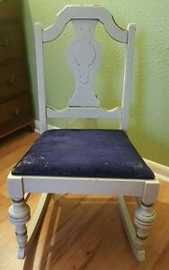 1910 1930 S Rocking Chair Victorian Small Gold Gild White Wood Blue Velvet Seat