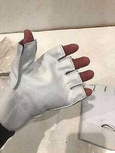 Leather Fingerless Palm Padded Anti Vibration Gloves Made In Usa Medium
