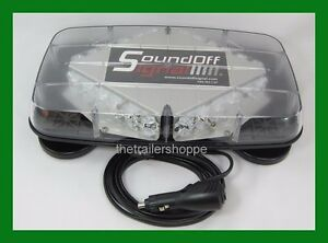 Sound Off Signal Pinnacle Series Mini Lightbar Magnet Mount Blue Flashing Leds