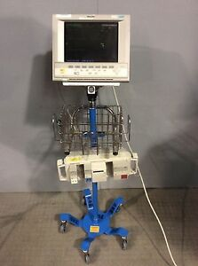 Philips M1204a Vital Monitor W agilent M1041a Module Rack And Stand