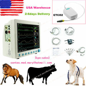 Portable Veterinary Vital Signs Patient Monitor 6 Parameters sidetream Etco2 Usa