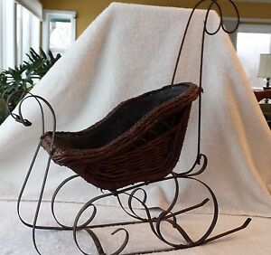 Antique Primitive Wicker Sleigh Display Christmas Or Doll 21 5