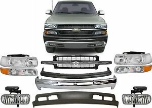 Replacement Front Bumper Combo For 1999 2002 Chevrolet Silverado 1500 New Usa