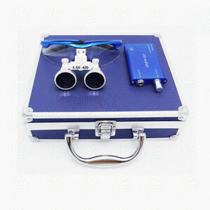 Dental Surgical Binocular Loupes 3 5x 420 Magnifier Kit Led Head Light Blue Vep