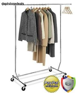Clothing Rack On Wheels Commercial Grade 250 Pound Load Portable Clothes Hanger