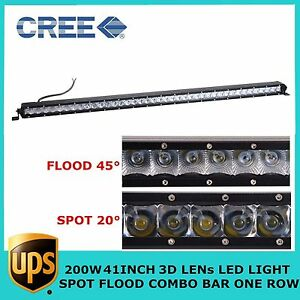 200w Cree 41inch Led Off Road Combo Light Bar Single Row Ford 4x4wd Jeep Toyota