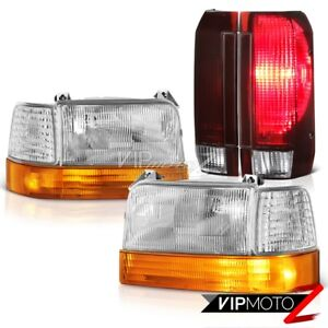 92 93 94 95 96 Ford F250 Rosso Burgundy Tail Lights Sterling Chrome Headlights