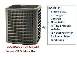 New 5 Ton Chillking In line Chiller Usa Made 230v 3 phase Outdoor Indoor R410a