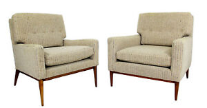 Mid Century Modern Pair Paul Mccobb Directional 1323 Lounge Chairs Wood 1960s