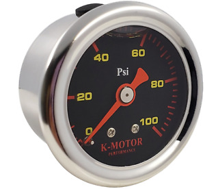 Fuel Pressure Gauge Liquid Filled Polished Case And Black Face 1 8 Npt 100 Psi