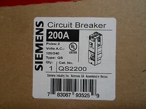 Siemens Qs2200 Circuit Breaker 200amp 2 pole 240vac New In Box