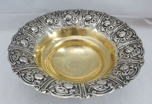 Sterling Silver 925 Fruit Candy Nut Dish Bowl With Master Design 192 Grams