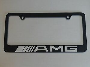 Mercedes Benz Amg License Plate Frame Glossy Black Brushed Aluminum Text 2pcs