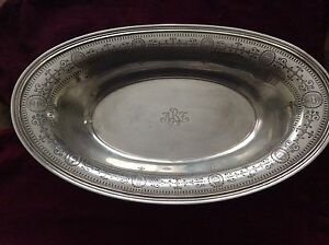 Vintage Tiffany Sterling Silver Bread Tray Basket Urn Floral Pattern 3884