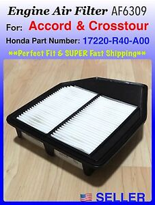 Engine Air Filter For Honda Accord 4cyl 2 4l 2008 2012 Af6309 Fast Ship