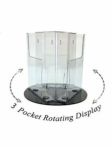 Lot Of 3 Clear 3 Pocket Rotating Display For 8 5 Literature Magazine Brochure