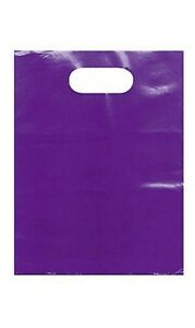 Plastic Shopping Bags 1000 Purple 9 X 12 Merchandise Diecut Handle Retail Gift