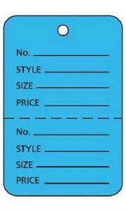 2000 Perforated Tags Price Sale Large 1 W X 2 H Two Part Blue Coupon Tag