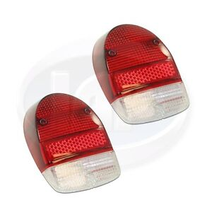 Vw Volkswagen Beetle Bug Tail Light Lens Clear Red Red 68 70 Ac945115 Pair