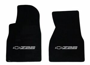 New Black Floor Mats 1993 2002 Camaro Embroidered Z28 Logo Silver Pair Front