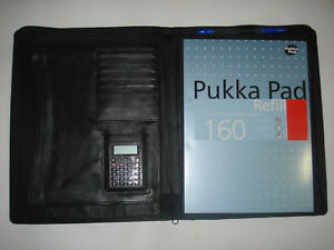 Real Leather A4 Document Folder Holder A4 Document Wallet Pukka Pad Calculator