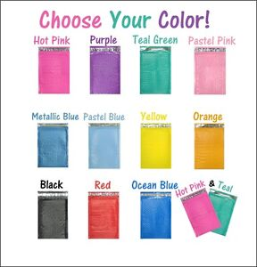 4x8 Hot Pink teal Poly Bubble Mailers Colored Padded Shipping M