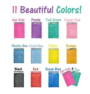6x10 Colored Poly Bubble Mailers Pink teal purple Shipping Mailing Envelopes