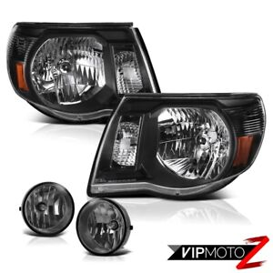 For 2005 2011 Toyota Tacoma X runner Clear black Headlights Dark Smoke Fog Light