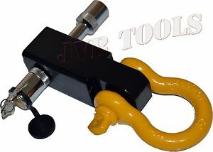 New Solid Shank Shackle Yellow D ring Receiver Hitch W 5 8 Hitch Pin Lock