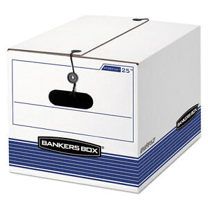 Bankers Box Stor file Storage Box Legal letter Tie Closure White blue