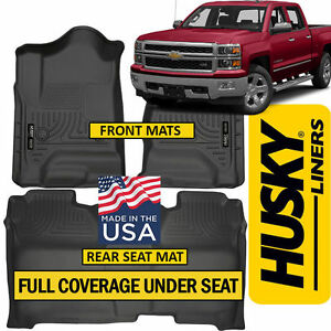 Husky Weatherbeater 2014 18 Chevy Silverado Crew Cab Full Cover Floor Mats Black