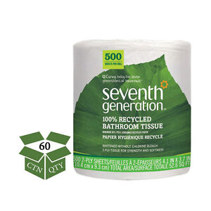 Seventh Generation 100 Recycled Bathroom Tissue 2 ply White 500
