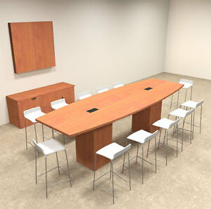 Boat Shape Counter Height 12 Feet Conference Table of con ct8