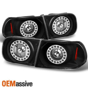 Fit 1992 95 Honda Civic Coupe Sedan Black Led Ring Style Tail Lights Replacement