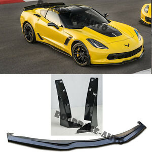 For Corvette C7 Z06 Z07 Stage 3 Plastic Front Splitter Lip Extensions Winglets
