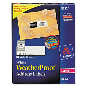 Avery Weatherproof Addess Labels W trueblock Laser White 1 1 3 X 4 700 pack